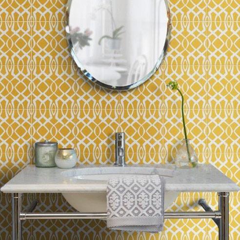 Modern Lattice Sulphur Encaustic Tiles
