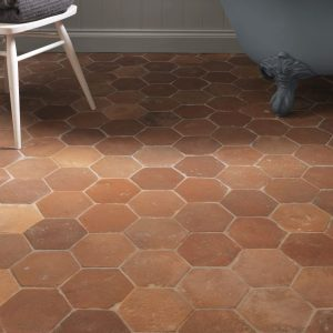 Antique Terracotta Hexagon in an eye catching bathroom suite