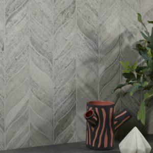 Baobab Silver Blue Leaf Limestone Mosaic Wall Tiles