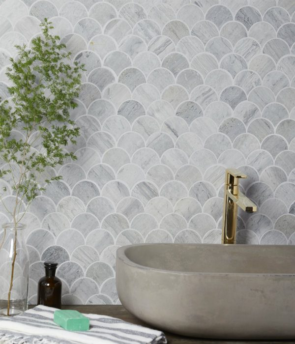 Baobab Silver Blue Limestone Scallop Mosaic Bathroom Wall Tiles