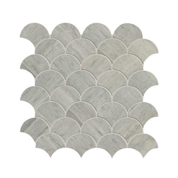Baobab Silver Blue Limestone Scallop Mosaic Close Up