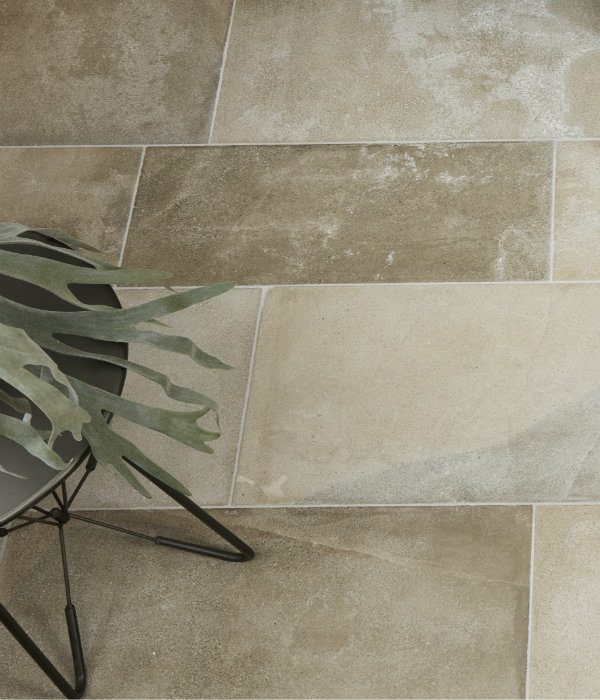 Beaulieu Limestone Velvet Finish with a decorative plant