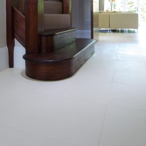 Blanc Limestone Honed Finish at the foot of the stairs