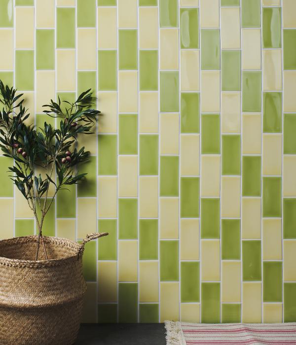 Colour Pop Ceramic Green Triangular Pattern