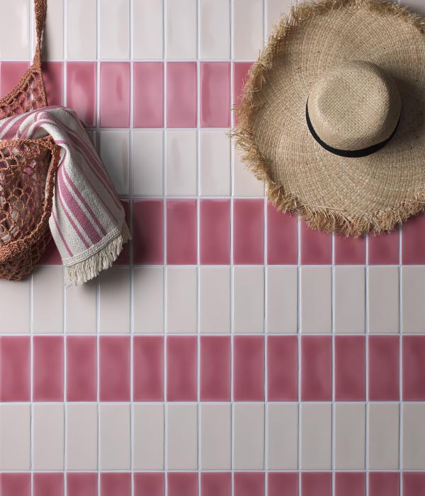 Colour Pop Ceramic Pink Stripe Pattern