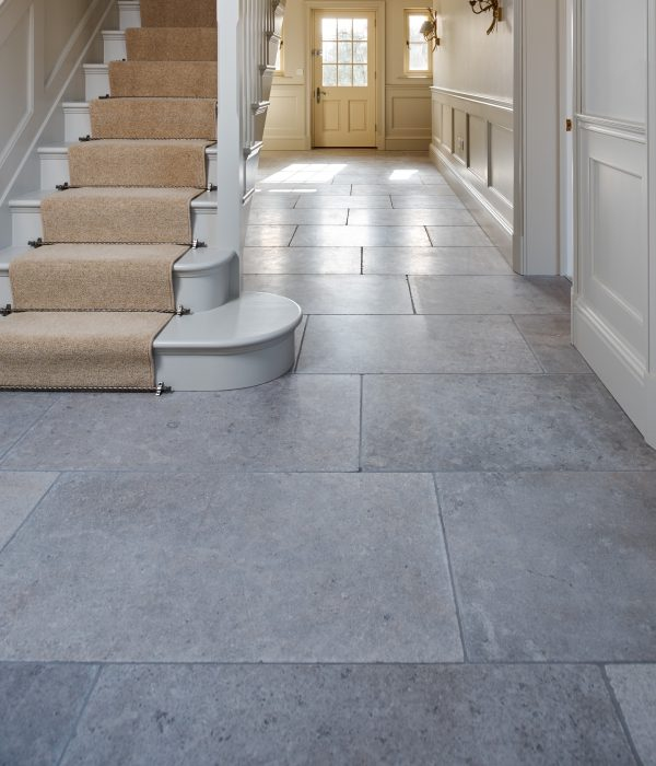 Corfe Limestone Tumbled Finish at the base of the stairs