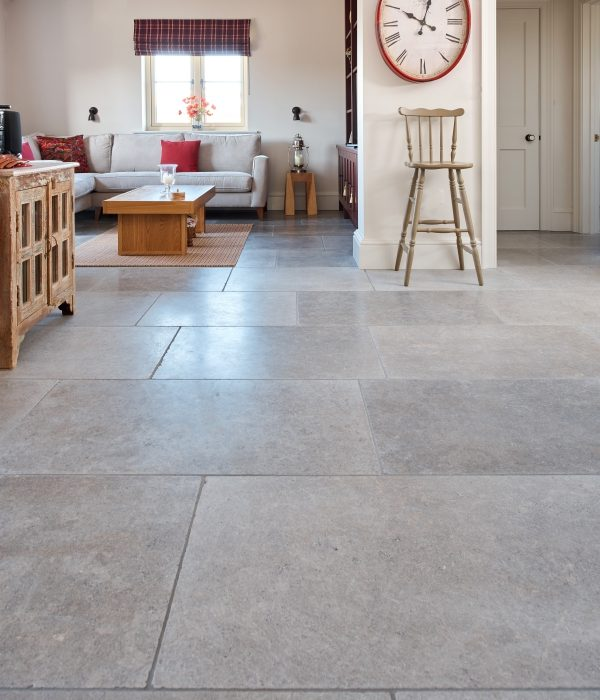 Corfe Limestone Tumbled Finish in a through kitchen living room