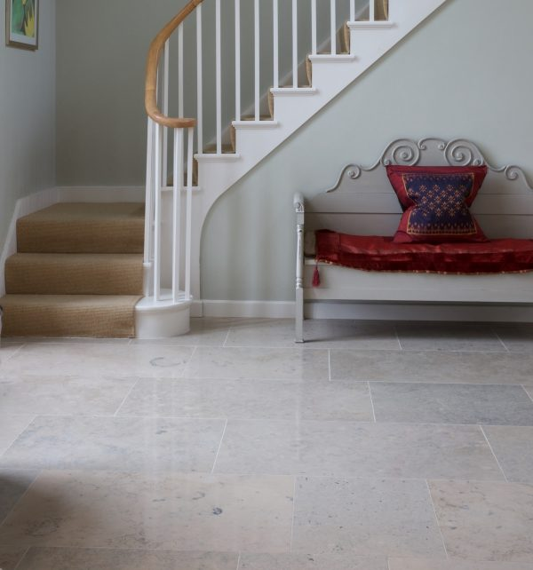 Firmdale Limestone Honed Finish at the foot of the stairs