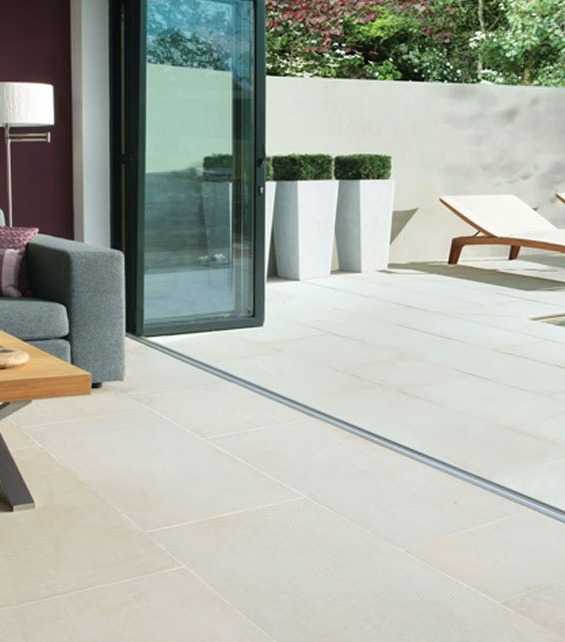 Hamlet Limestone Etched Finish conservatory to patio tiling