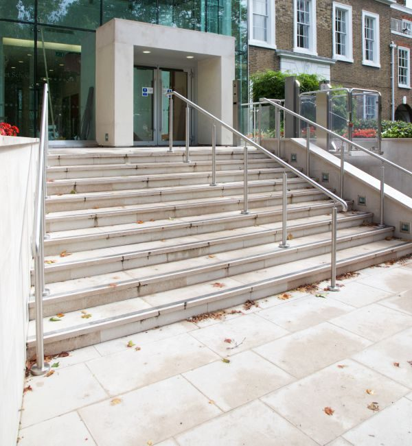 Hamlet Limestone Etched Finish stair tiling