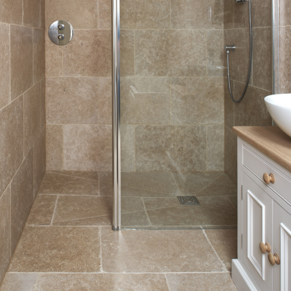 Hamlet Limestone Tumbled Finish Shower Enclosure Tiling