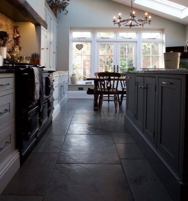 Huntingdon Limestone Worn Finish Tiled Kitchen Dining Area