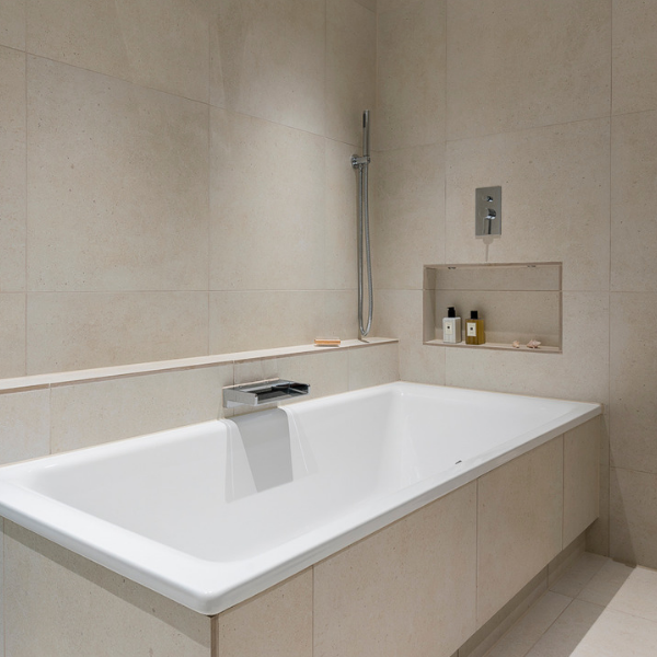Isle Porcelain Perla tiling around a modern bath