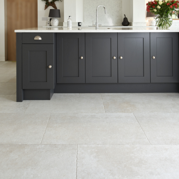 Jurassic Porcelain Grigio with contrasting modern kitchen units