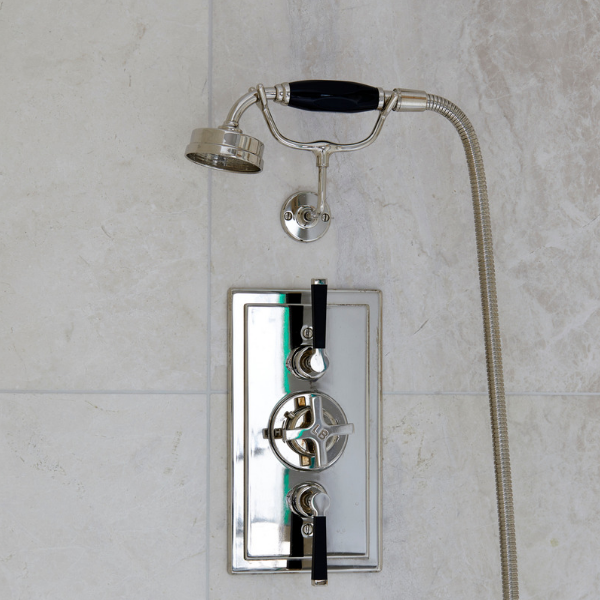 Linara Marble Honed Finish wall tiles with reflective shower unit