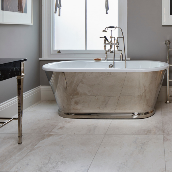 Linara Marble Honed Finish with a mirrored bathtub