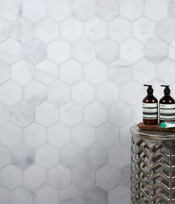Long Island Marble Honed Large Hexagon Mosaic Wall Tiles