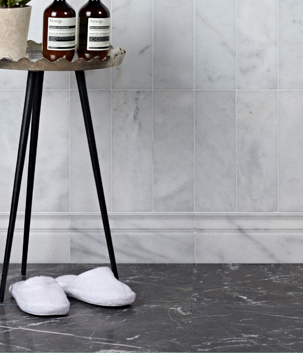 Long Island Marble Skirting Honed With contrasting floor tiles