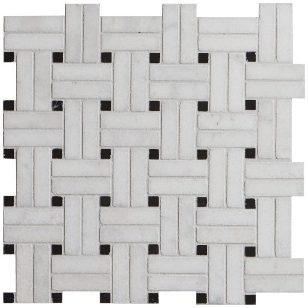 Long Island Marble Wicker Mosaic Detailed Close Up