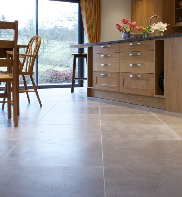 Lucca Limestone Velvet Finish In a light wood kitchen area