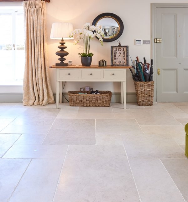Lunar Tumbled Limestone reception room