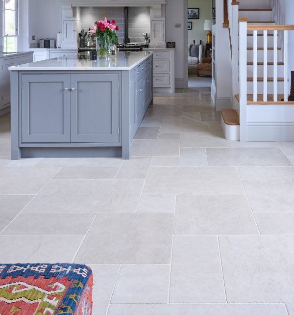Lunar Tumbled Limestone through living and kitchen area