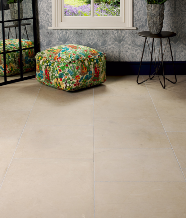 Maldon Limestone Tumbled Finish in a study with mirror decorations