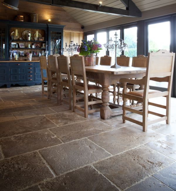 Medieval Bourgogne Limestone Weathered Finish kitchen and diner area