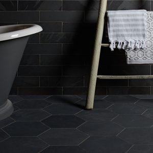 Metropolitan Slate Hexagon Riven Finish Dark Slate Bathroom