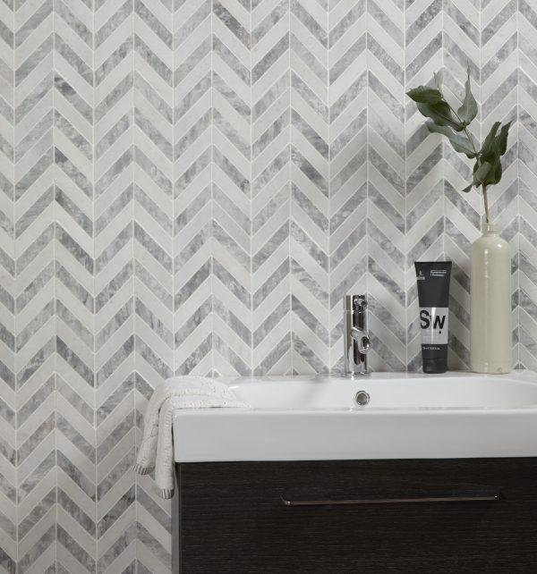Milan Silver Marble Mosaic Bathroom Tiles