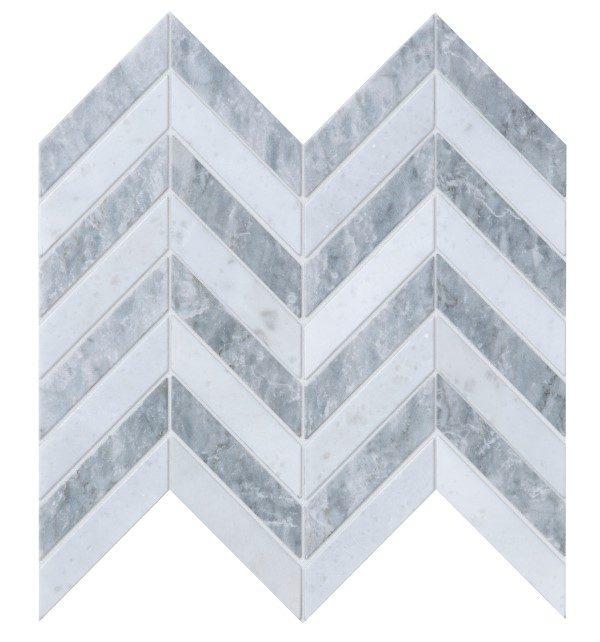 Milan Silver Marble Mosaic Close Up