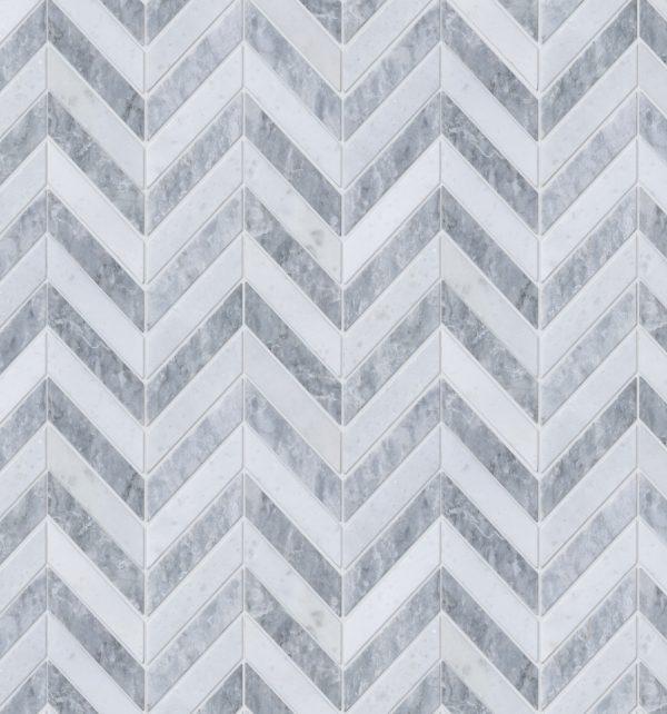 Milan Silver Marble Mosaic Detailed Close Up