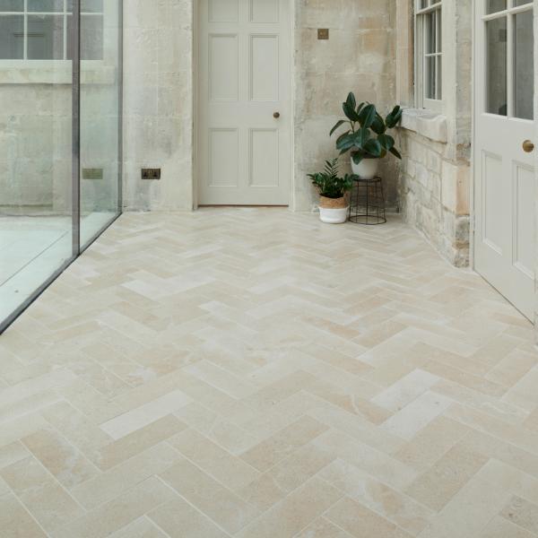 Neranjo Limestone Brick Velvet Finish Glass Corridor Tiling