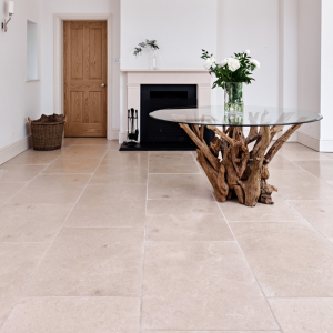 Neranjo Limestone Tumbled Finish complimented by a fireplace
