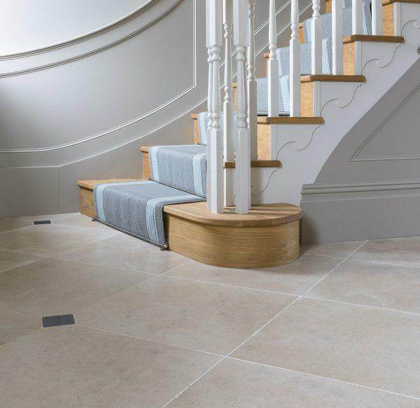 Neranjo Limestone Velvet Finish leading up to the stairs