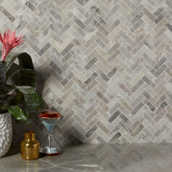 Palladio Marble Herringbone Mosaic Bathroom wall tiles