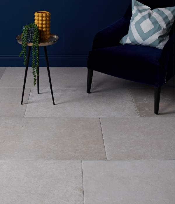 Pebble Porcelain Greige in a reception room