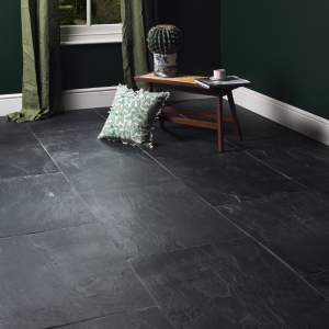 Portobello Slate Worn Finish In A Complimenting Dark Green Room