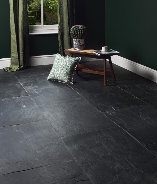 Portobello Slate Worn Finish In A Complimenting Dark Green Room