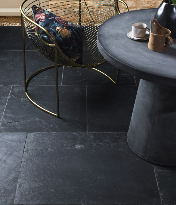 Portobello Slate Worn Finish With Chair And Table