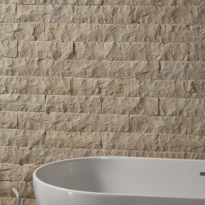 Rockface Brick Hamlet Limestone bathroom backdrop