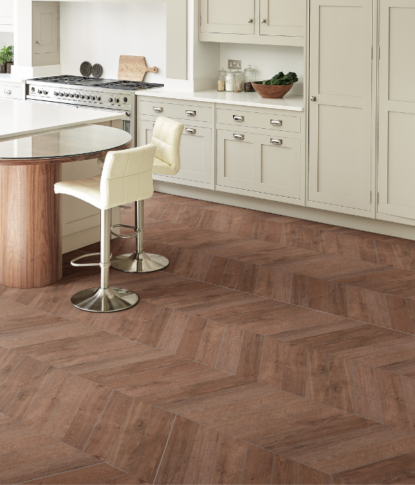 Rotterdam Mid Wood Porcelain in a luxurious kitchen setting