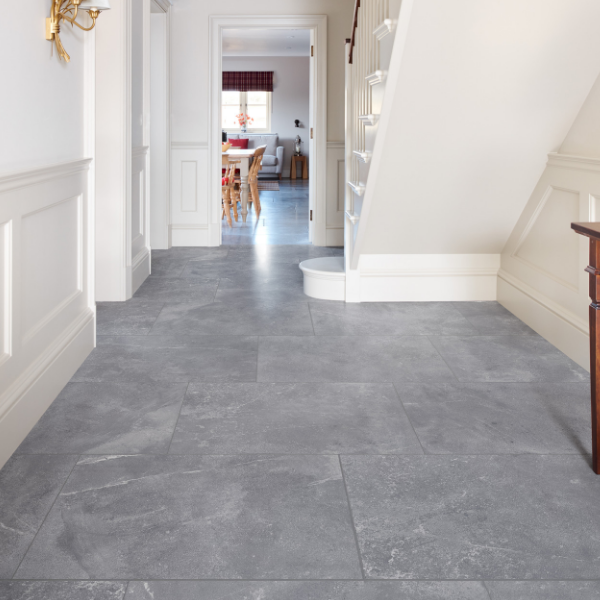 Shalstone Porcelain Scuro in a modern hallway