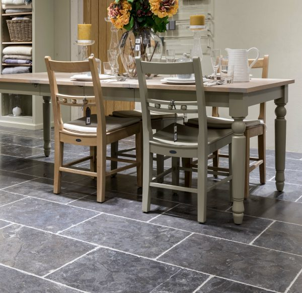 Tamworth Limestone Vintaged Finish under a dining table