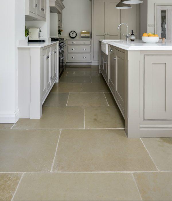 Umbria Limestone Tumbled Finish in a modern kitchen setting