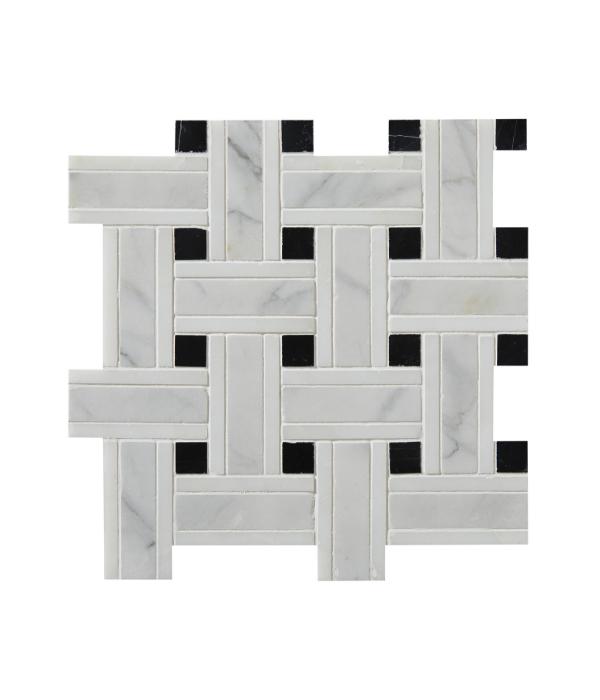 Zen Marble Grand Basket Weave Marble Mosaic Close Up