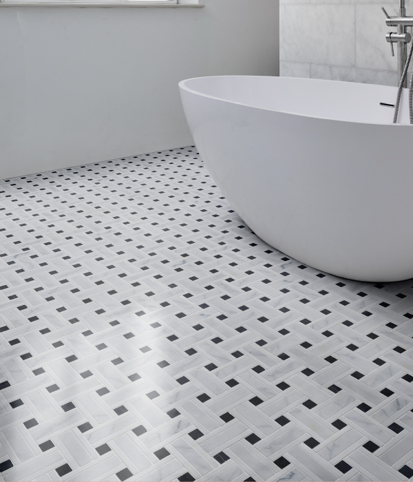 Zen Marble Grand Basket Weave Marble Mosaic Contemporary Floor Tiles