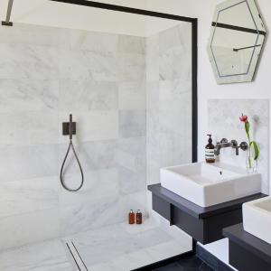 Zen Marble Honed Finish Modern tiled shower enclosure