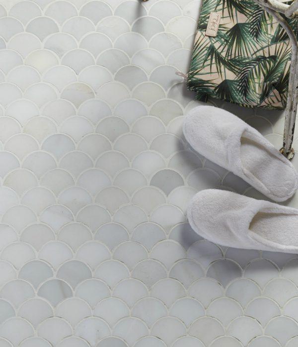 Zen Marble Scallop Mosaic Birds Eye View