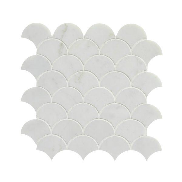 Zen Marble Scallop Mosaic Close Up